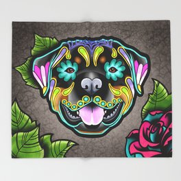 Rottweiler - Day of the Dead Sugar Skull Dog Throw Blanket