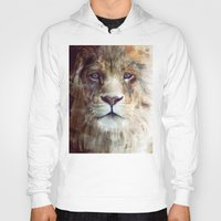 red Hoodies featuring Lion // Majesty by Amy Hamilton