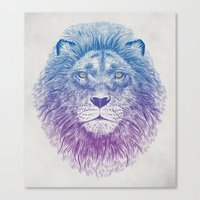 golden Canvas Prints featuring Face of a Lion by Rachel Caldwell