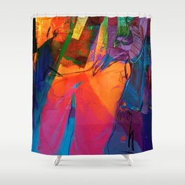 Walking with Sunset  Shower Curtain