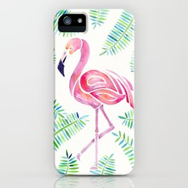 Dreamy Watercolor Flamingo and Ferns iPhone Case