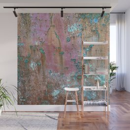 Abstract turquoise flowers on colorful rusty background Wall Mural