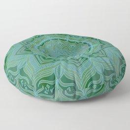 Green Swirl Mandala II Floor Pillow