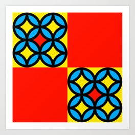 Colored Circles Red Squares Art Print