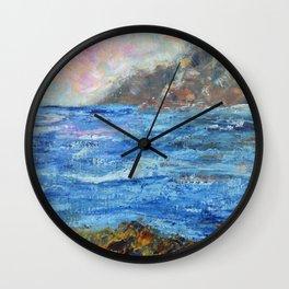 Rocky shores, abstract seascape, ocean art Wall Clock