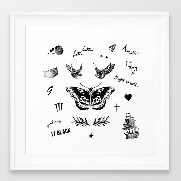 Harry\'s Tattoos Two Framed Art Print by casesbykate | Society6