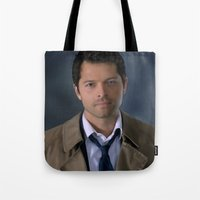 castiel Tote Bags featuring Castiel by Rousetta