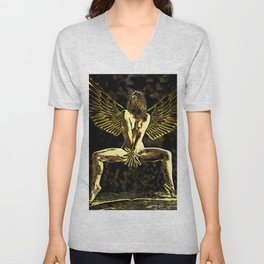 3525-MM Golden Angel Feminine Energies Contained Fingers Wings Spread Unisex V-Neck