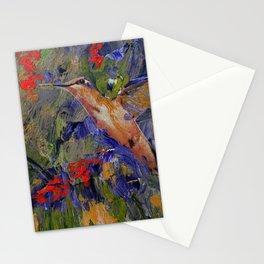 Hummingbirds, Abstract Art, Hummingbird Collage, Modern Art Stationery Cards