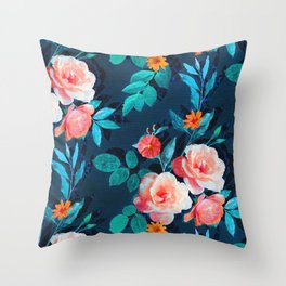 Retro Rose Chintz in Salmon and Teal on Deep Blue Throw Pillow