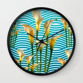 Calla Lilies  Blue Rippling Water Graphic Art Wall Clock