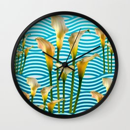 Calla Lilies  Blue Rippling Water Graphic Art Wall Clock