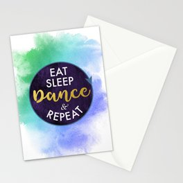 Eat Sleep Dance and Repeat faux gold foil glitter letters typography design for Dancer Stationery Cards