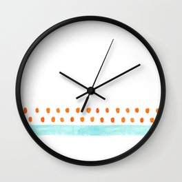 teal stripe orange dots pattern Wall Clock