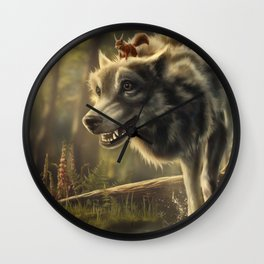 Faster (Wolf and Squirrel) Wall Clock