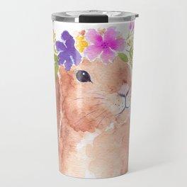 Floppy Ear Bunny Floral Watercolor Travel Mug