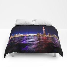 toronto city cn tower skydome Comforters
