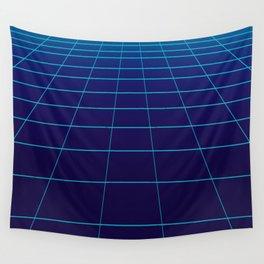 Minimalist Blue Gradient Grid Lines Wall Tapestry