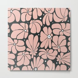 Seamless floral pattern with stylized large blossoms Metal Print
