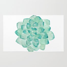 Watercolor Succulent print in seafoam green Rug