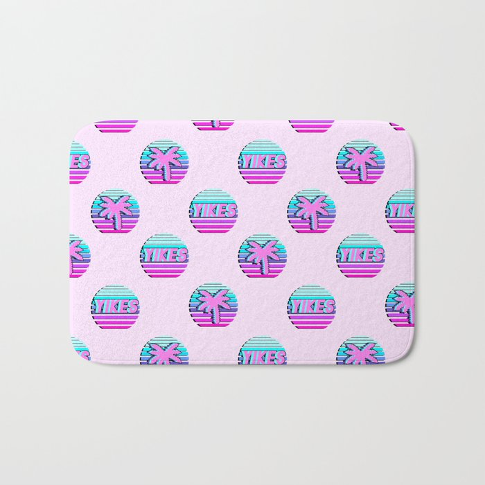 """Vaporwave pattern with palms and words """"yikes"""" #2 Bath Mat"""