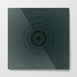 Mandala Fractal in Teal Study 04 Metal Print