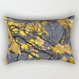 Yellow Birch Leaves, Raindrops, & Sunlight 2 Rectangular Pillow