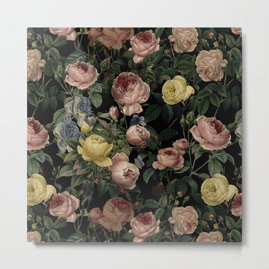 Vintage Roses and Iris Pattern - Dark Dreams on #Society6 Metal Print