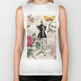 french country rose floral modern vintage dress mannequin paris fashion Biker Tank