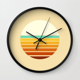 Retro Sun 60s 70s Abstract Vaporwave Sunset Pattern Wall Clock