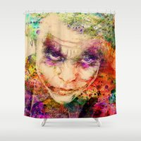 joker Shower Curtains featuring joker by mark ashkenazi