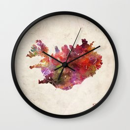Iceland map Landscape Wall Clock