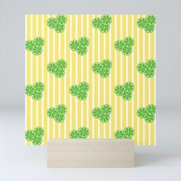 Lime Slices on Yellow and White Stripes Mini Art Print