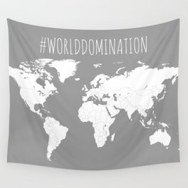 #WorldDomination World Map in Grey for Sales or Travel Wall Tapestry