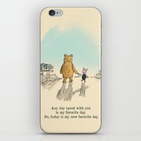 pooh iPhone & iPod Skins featuring Winnie the Pooh by Anna Della Marta