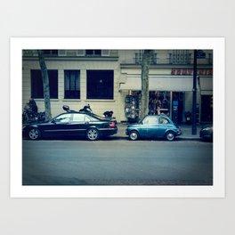 Parking in Paris isn't so hard...when you've got a tiny car! Art Print