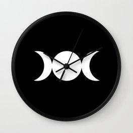 Triple Goddess Symbol – Divine Feminine – Maiden, Mother, Crone - White on Black Wall Clock
