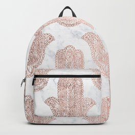 Modern rose gold floral lace hamsa hands white marble illustration pattern Backpack