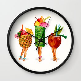 Tiki Cocktail Pin-Ups Wall Clock