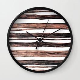 Chic elegant black rose gold paint brushstrokes stripes Wall Clock