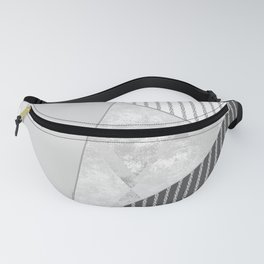 Valencia 4. Abstract grey, white geometric pattern. Fanny Pack