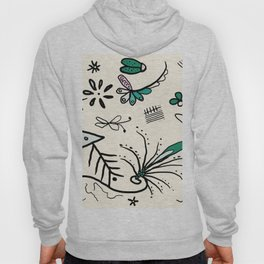 Soft white nature sketch whimsical Hoody