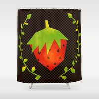 strawberry Shower Curtains featuring Strawberry by Strawberringo