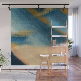 Wind and Rain - acrylic abstract with pink, blue, and brown Wall Mural