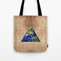 all seeing eye Tote Bags featuring All Seeing Eye by Spooky Dooky