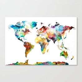 Colorful Watercolor World Map Canvas Print