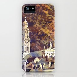 Watercolor painting of steeple of 13th century Church of the Holy Spirit city of Heidelberg, Germany iPhone Case