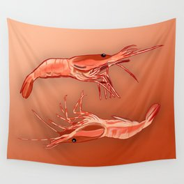 Two Shrimps Wall Tapestry
