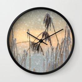 Phragmites Reed grass in the snowfall Wall Clock
