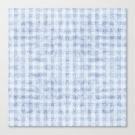 Pale Foam Blue Gingham Faux Suede Design Canvas Print
